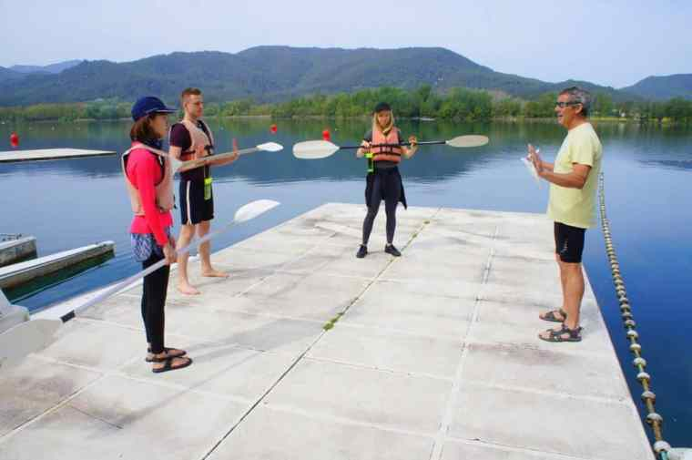 Learning from the master – Atilio instructs us how to kayak properly