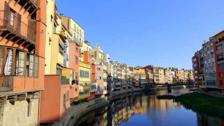The colourful waterfront of Girona