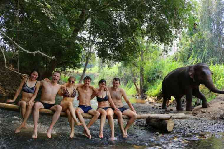 Group picture at the river with elephants in Chiang Mai
