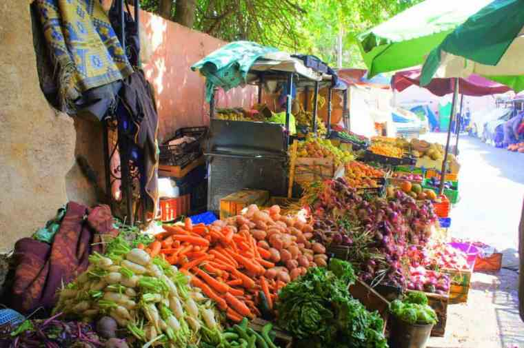 Just one example of the many colourful fruit and veg stalls.
