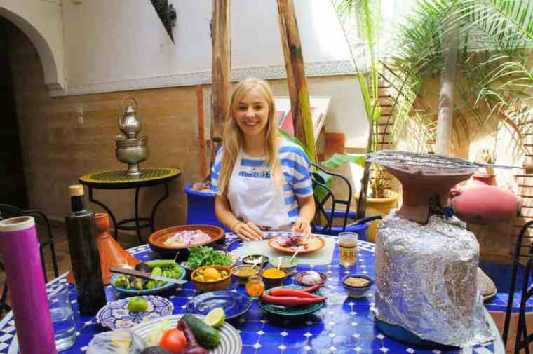 Learning how to cook Moroccan cuisine.