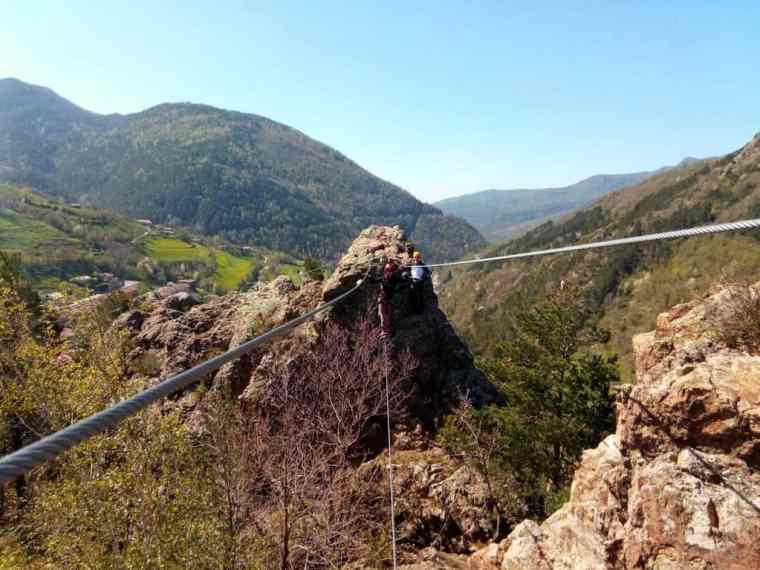 Negotiating one of the steel cable bridges – not for the faint of heart!