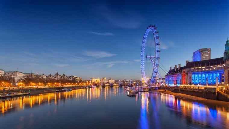 View of the London Eye ferris wheel.