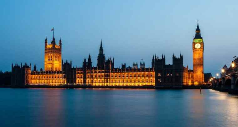 The houses of parliament viewed from the Thames