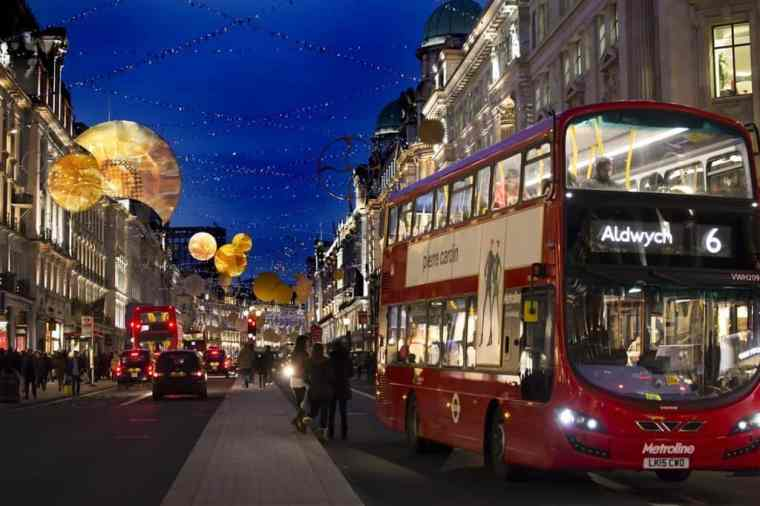 Regent Street, London during Christmas time