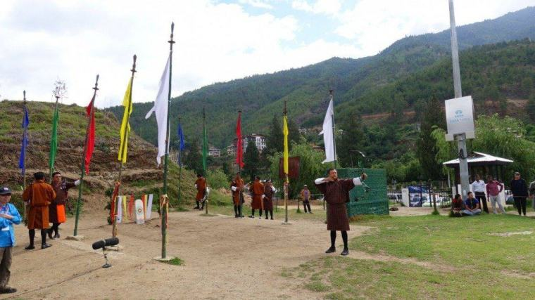 Color flags at a contest of the national sport of Bhutan