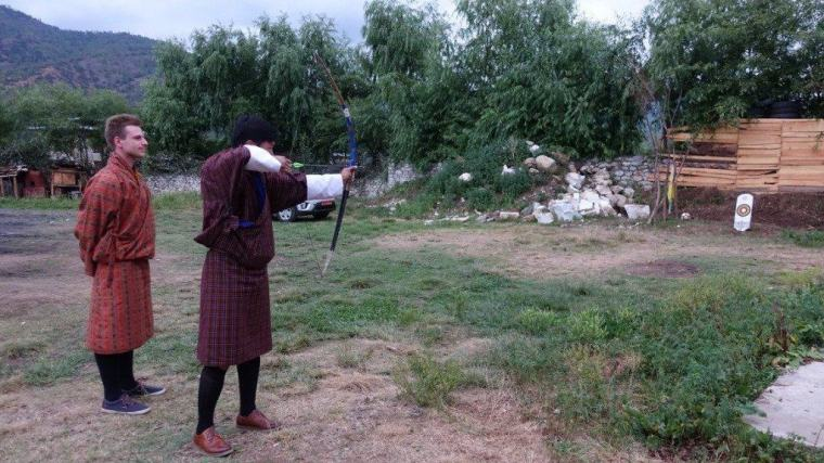 Cez learns the national sport of Bhutan