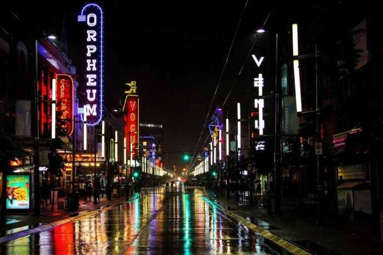 A nightlife street in Vancouver