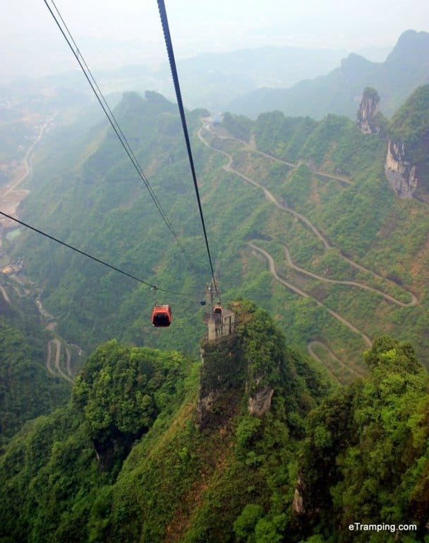 View of cable cars in ZhangJiaJie
