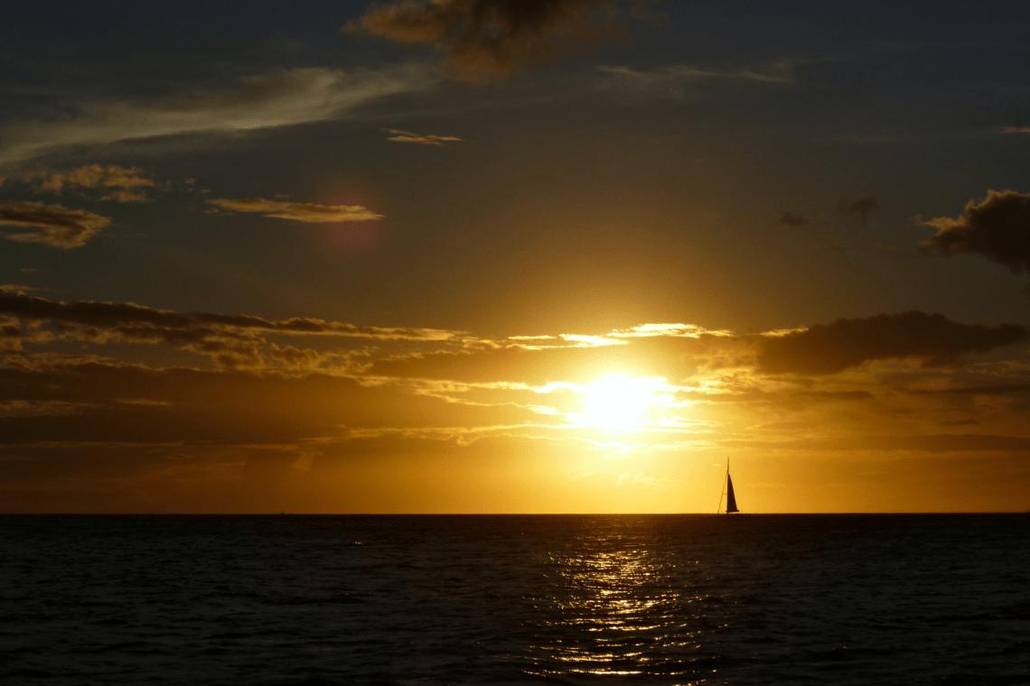 Coucher de soleil sur Oahu