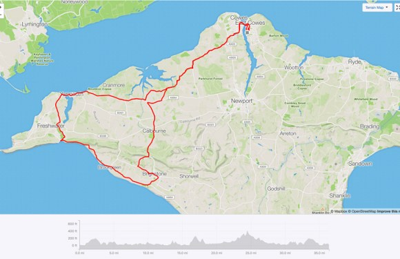 East Cowes To Yarmouth, Freshwater Bay, Brightstone, Cowes – 36.42 Miles – 2,471ft Elevation