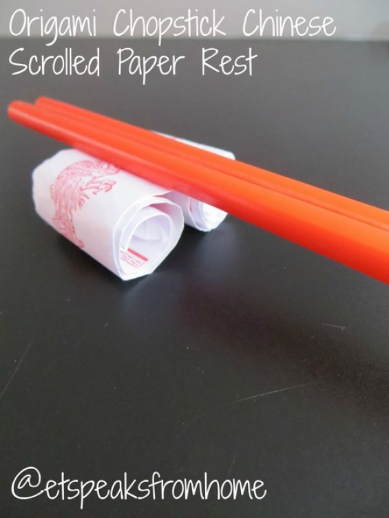 Origami Chopstick Chinese Scrolled Paper Rest