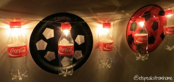 DIY coca-cola fairy light with soccer plate