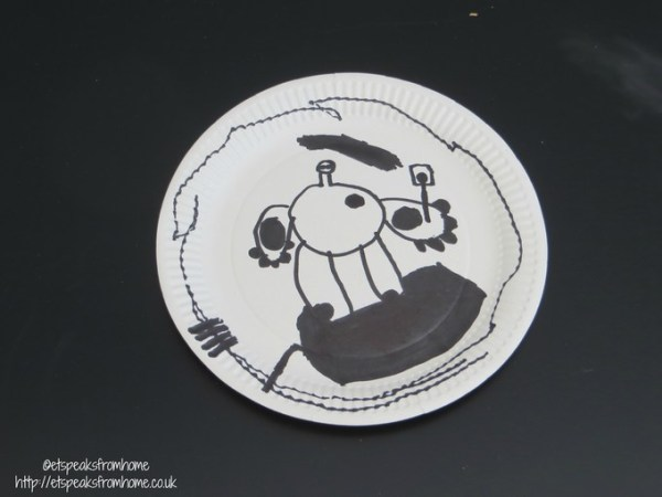 paper plate baymax drawing