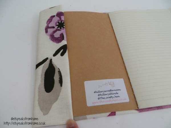 DIY fabric book cover side