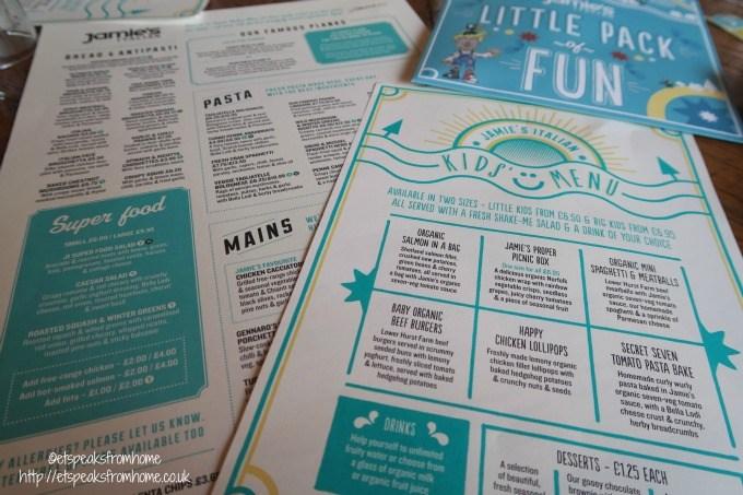 jamie's italian kids menu