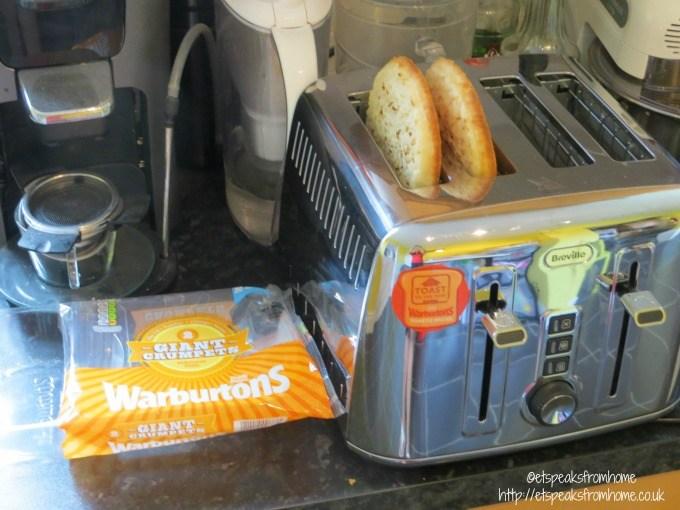 warburtons giant crumpets toaster