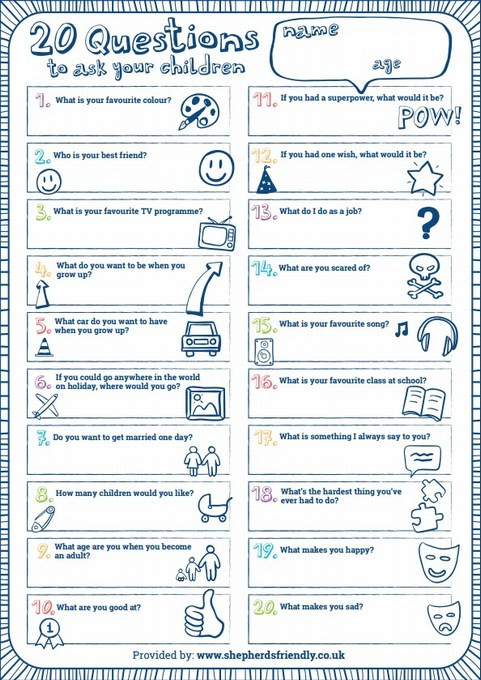 Questions to Ask your Children Activity