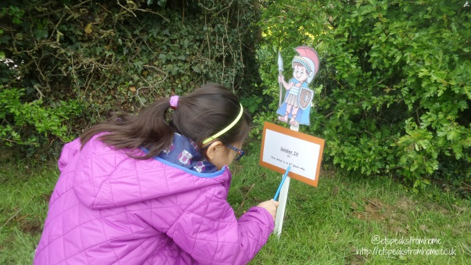 Easter Eggs Hunt at Wall Roman Site with Children soldiers