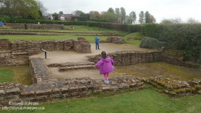 Easter Eggs Hunt at Wall Roman Site with Children
