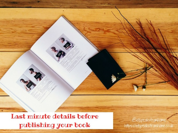 Last minute details before publishing your book
