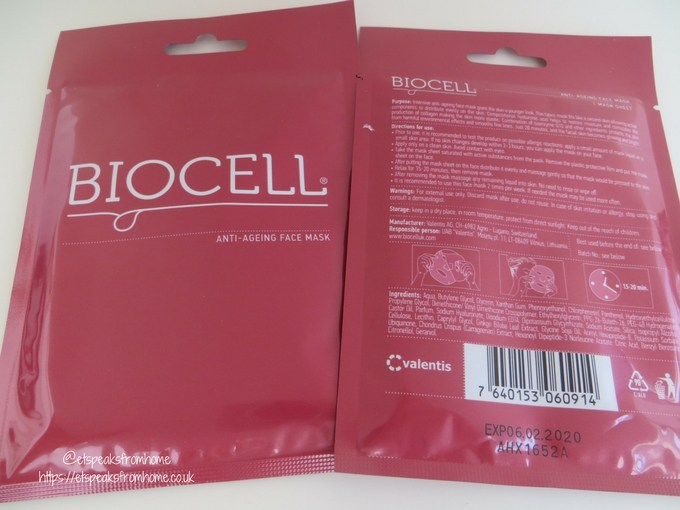 Biocell Face Mask Review anti-ageing