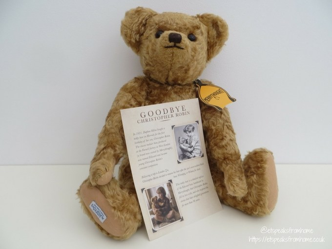 Goodbye Christopher Robin merrythought teddy bear with cert