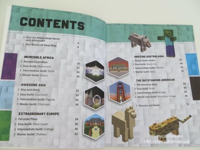 Minecraft Master Builder World Tour book content