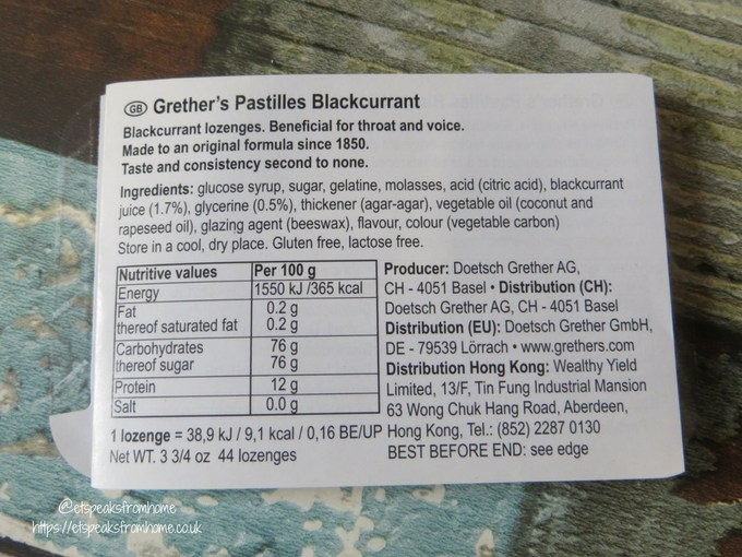 Grether's Pastilles content