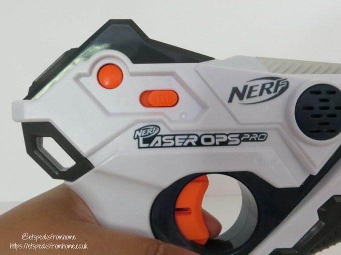 Nerf Laser Ops Pro blaster power button