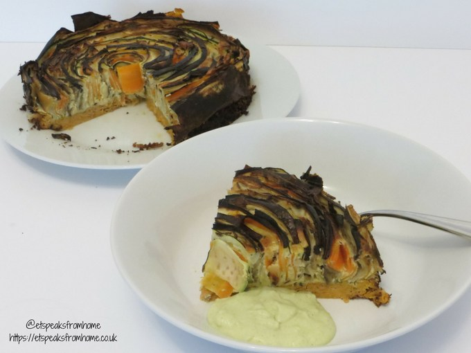 Vegetable Spiral Tart with Avocado-Curry Cream served