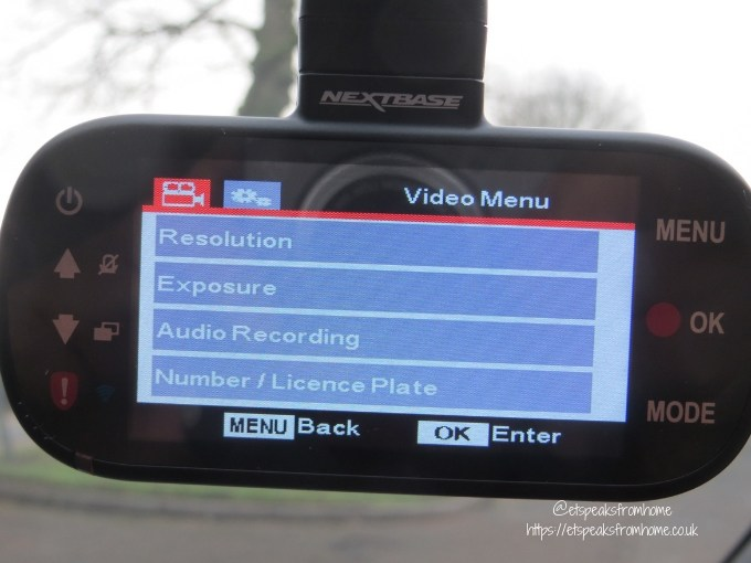 nextbase 512GW dash cam video menu