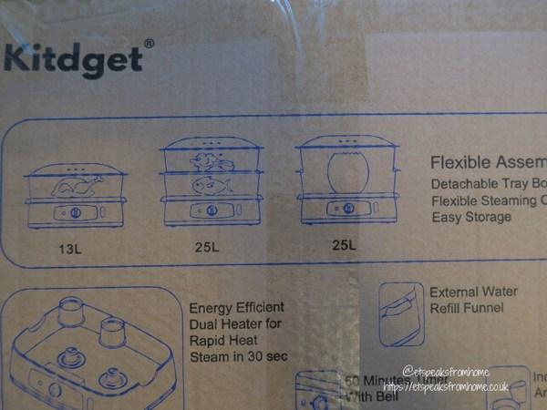 Kitdget 25L Professional Food Steamer size