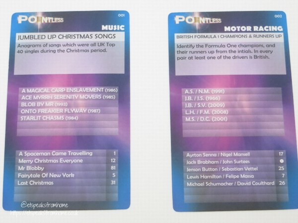 Pointless The Mini Game question cards
