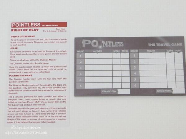 Pointless The Mini Game score sheet