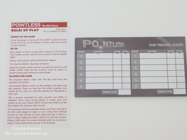 Pointless The Mini Game score sheet