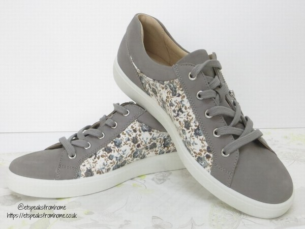 Hotter Chase Pebble Grey Floral front view