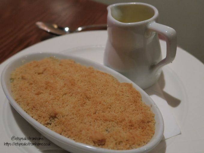 kettering park hotel dinner apple crumble