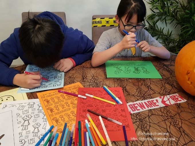 Halloween Craft with Design Bundles colouring with kids