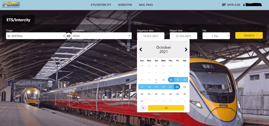 select time and date ETS train ticket booking online