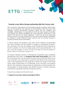 ETTG Director's piece: Towards a new Africa Europe partnership after the Corona crisis