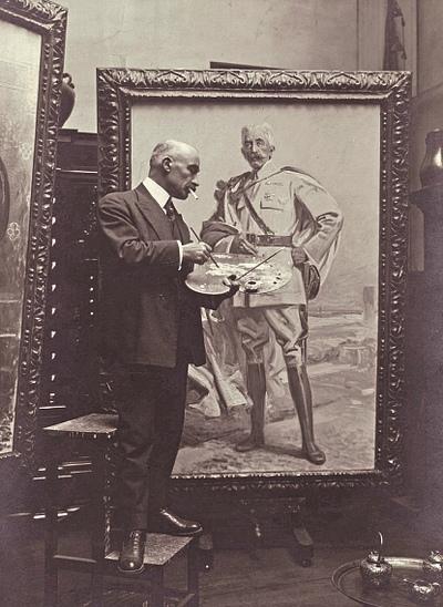 Jean Patricot finissant le portrait du maréchal Lyautey