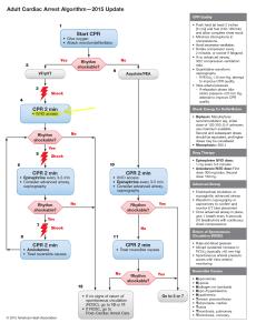 Algorithme de prise en charge de l'arrêt cardiaque de l'adulte de l'AHA 2015
