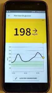 Application pour smartphone équipée de la puce NFC pour lecture de la glycémie