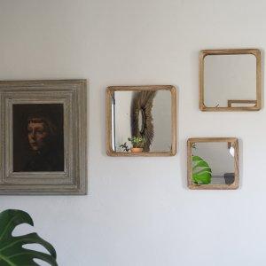 Miroir en bois carré Etxe Mia!
