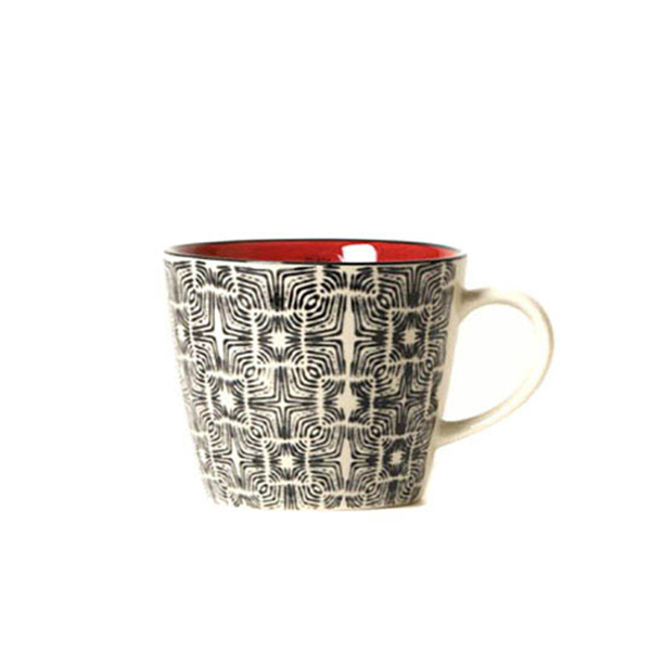 Tasse thé grise et rouge Etxe Mia!
