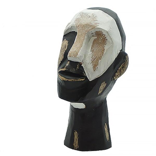 tête en bois de manguier noir et blanche Etxe Mia!