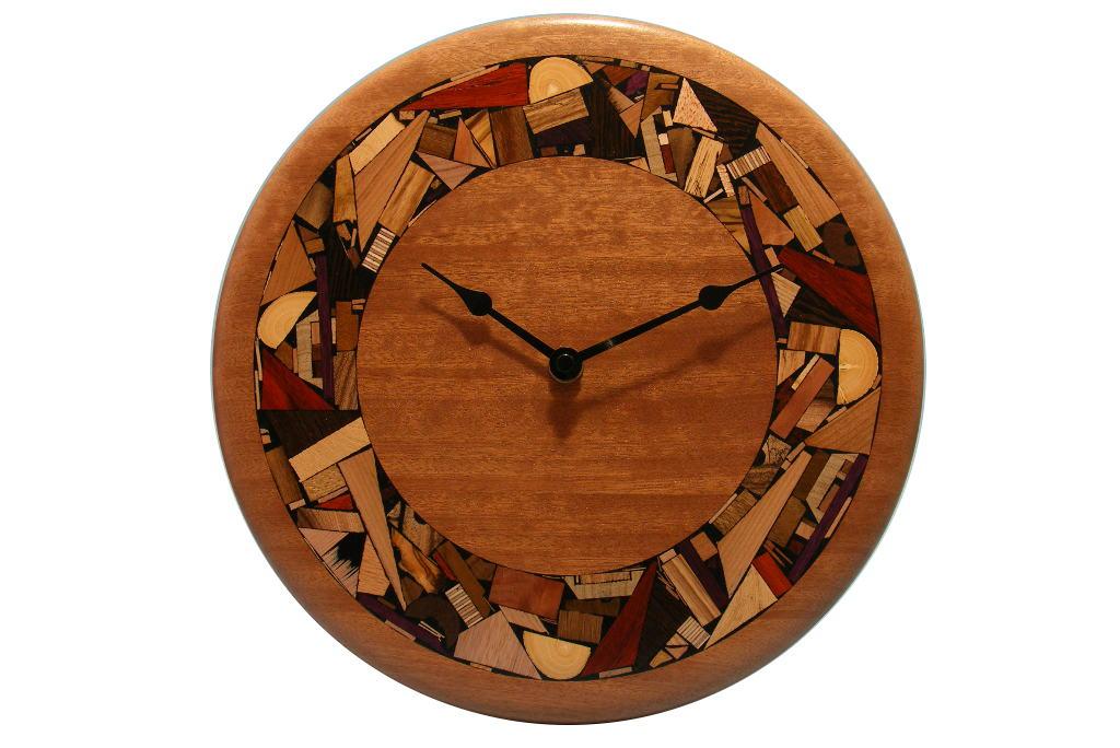 Modern Mosaic Clock- Mosaic Rimmed Clock-Wooden Wall Clock