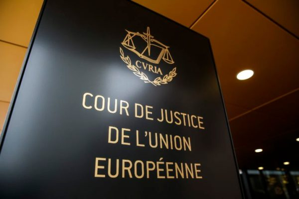 The logo of the European Court of Justice in Luxembourg