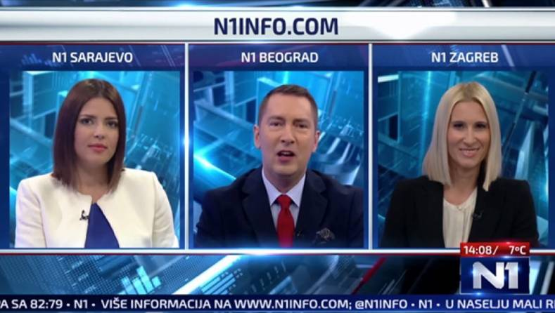 Screen shot from Serbia's N1 TV news channel